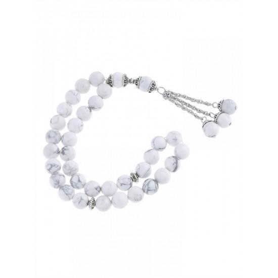 Masbaha Unisex White Chalk Magnesite Prayer Beads ANM-22 image