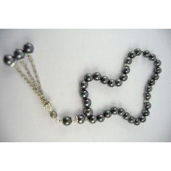 Natural Peacock Black Fresh Water Pearl Tasbeeh ANM-23
