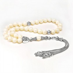 De Hari's Diamond Men's Silver Plated Mother-of-Pearl Prayer Beads ANM-31
