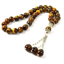 Masbaha Unisex Genuine Tiger Eye Gemstone Prayer Beads ANM-32