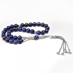 De Hari's Diamond Men's Silver Plated Lapıs Lazuli Prayer Beads ANM-33