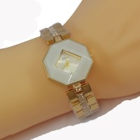 Dior Style Hexagonal White Dial Diamond Gold Plated Bracelet Watch for Women CHD-110W