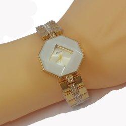 Dior Style Hexagonal White Dial Diamond Gold Plated Bracelet Watch for Women CHD-110W