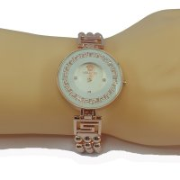 Versace Style Round White Dial Diamond Gold Bracelet Watch for Women CHD-113W