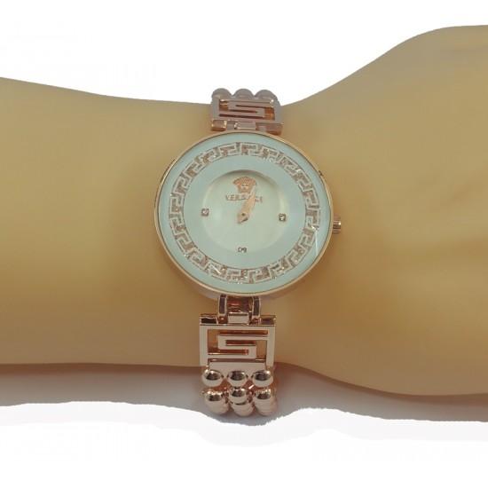 Versace Style Round White Dial Diamond Gold Bracelet Watch for Women CHD-113W image