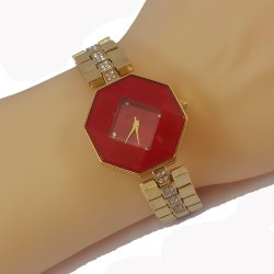 Dior Style Hexagonal Red Dial Diamond Gold Plated Bracelet Watch for Women CHD-110R