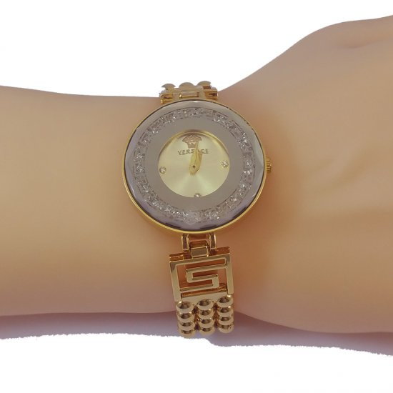 Versace Style Round Gold Dial Diamond Gold Bracelet Watch for Women CHD-113G image