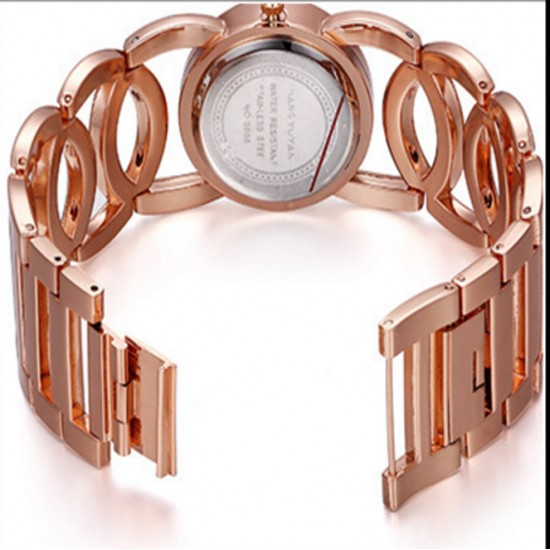 Ladies Rose Gold With Silver Dial Hollow Bracelet Watch CHD-62RG