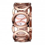 Ladies Rose Gold With Silver Dial Hollow Bracelet Watch CHD-62RG image