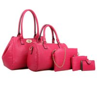 Women Fashion Pink Color Five Piece Crocodile Pattern Handbag CLB-91PK