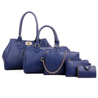 Women Fashion Blue Color Five Piece Crocodile Pattern Handbag CLB-91BL