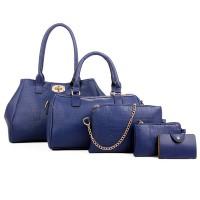 Women Fashion Blue Color Five Piece Crocodile Pattern Handbag CLB-91BL