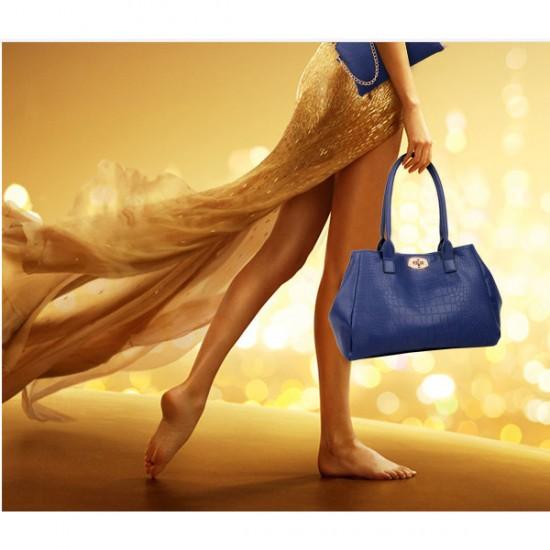 Women Fashion Blue Color Five Piece Crocodile Pattern Handbag CLB-91BL image