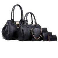Women Fashion Black Color Five Piece Crocodile Pattern Handbag CLB-91BK