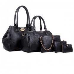 Women Fashion Black Color Five Piece Crocodile Pattern Handbag CLB-91BK