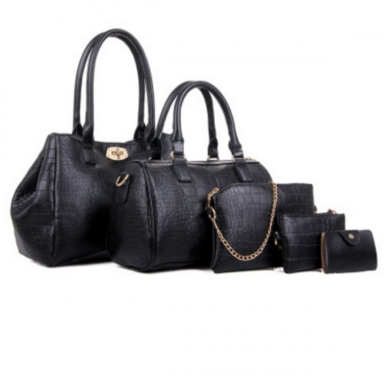 Women Fashion Black Color Five Piece Crocodile Pattern Handbag CLB-91BK image