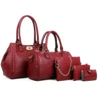 Women Fashion Red Color Five Piece Crocodile Pattern Handbag CLB-91RD