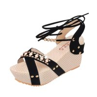 Women Fashion Black Color Thick Crust Wedge Sandals CSW-14BK