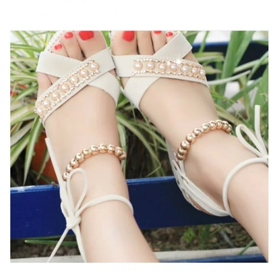 Women Fashion Cream Color Thick Crust Wedge Sandals CSW-14CR image