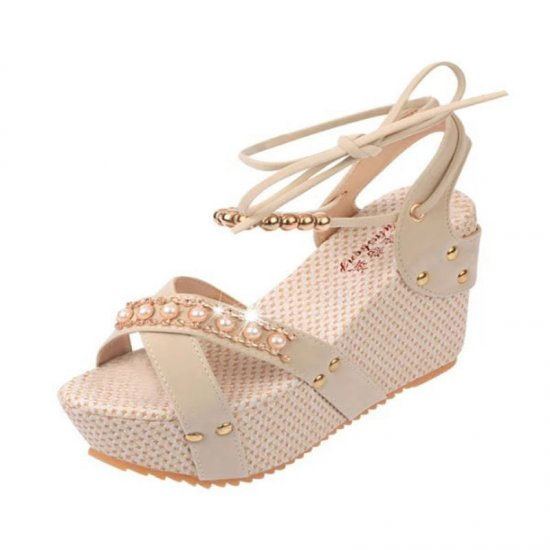 Women Fashion Cream Color Thick Crust Wedge Sandals CSW-14CR