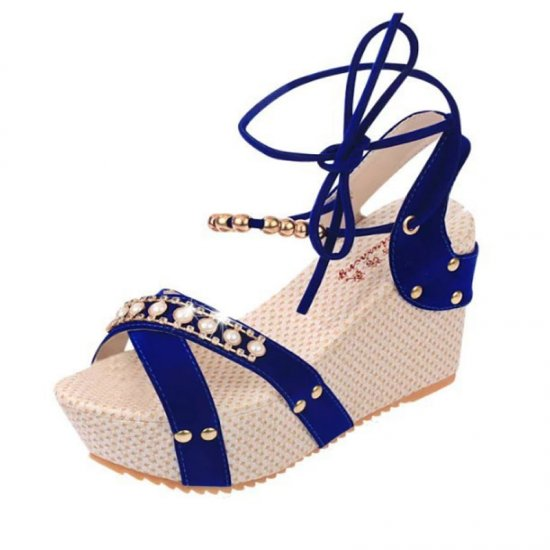 Women Fashion Blue Color Thick Crust Wedge Sandals CSW-14BL