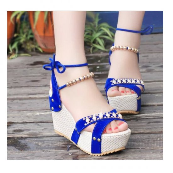 Women Fashion Blue Color Thick Crust Wedge Sandals CSW-14BL image