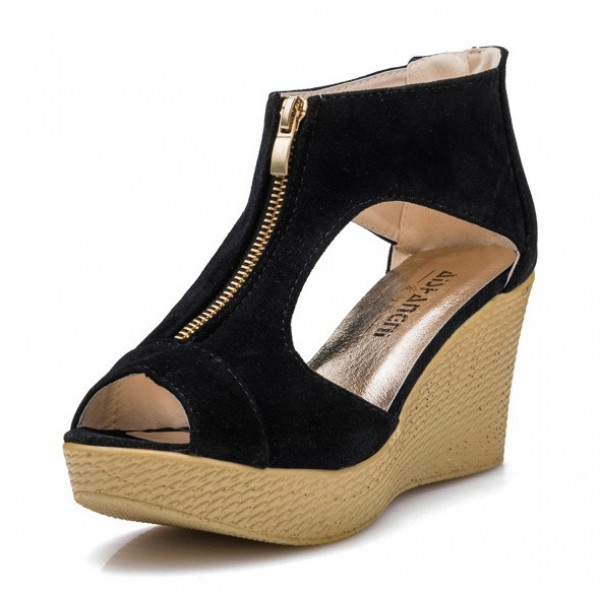 Women Fashion Black Color Suede Wedge Sandals CSW-19B image