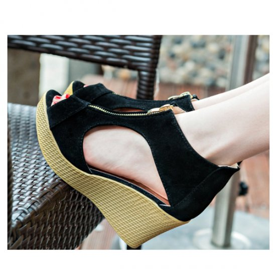 Women Fashion Black Color Suede Wedge Sandals CSW-19B