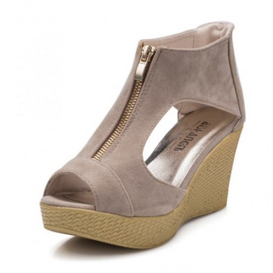 Women Fashion Cream Color Suede Wedge Sandals CSW-19CR image