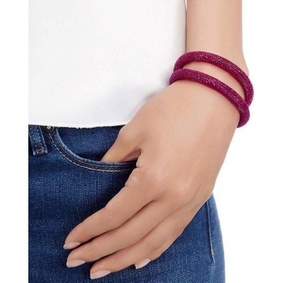 Swarovski Women's Dark Pink Nylon Stardust Double Bracelet, M, 20cm - FSB-77