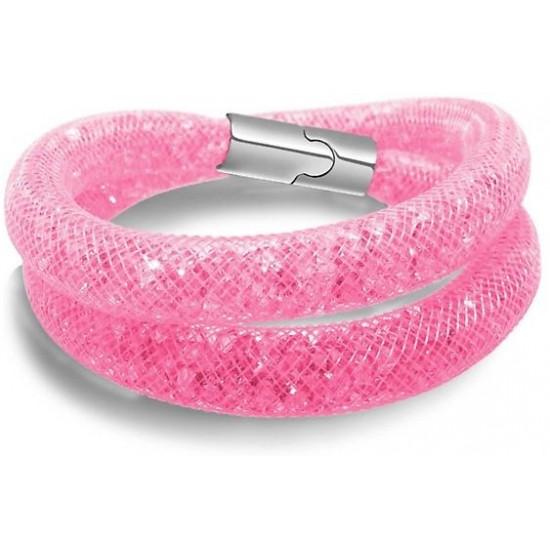 SWAROVSKI ELEMENTS Pink Stardust Mesh Bracelet-FSB-78