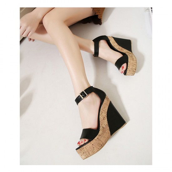 Women Fashion Black Color Wedge Sandals CSW-31B