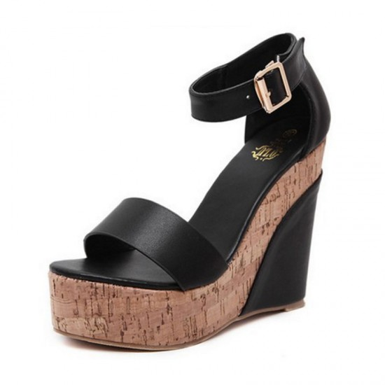 Women Fashion Black Color Wedge Sandals CSW-31B