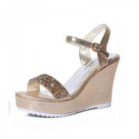 Women Fashion Gold Diamond Crystals Designed Wedge Sandals CSW-34G