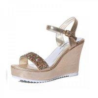 Women Fashion Gold Diamond Crystals Designed Wedge Sandals CSW-34G