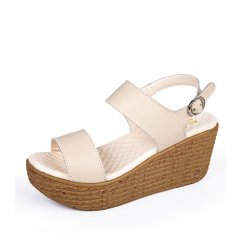 Women Fashion White Color Wedge Sandals CSW-33W