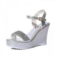 Women Fashion Silver Diamond Crystal Designed Wedge Sandals CSW-34S