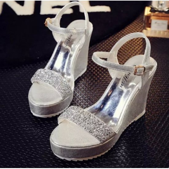 Women Fashion Silver Diamond Crystal Designed Wedge Sandals CSW-34S image