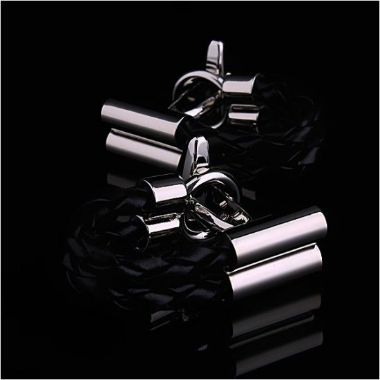 Look Stylish Black Leather Chain Men's Cufflinks CFL-08 image