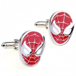 Look Stylish Spiderman Shirt Button Cufflink  CFL-14 (Red)