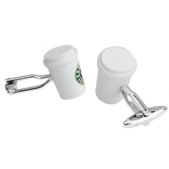 Look Stylish Starbucks Coffee Cup Shape Personalized Mens Shirt Cufflinks CFL-19 image