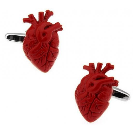 Look Stylish Real Heart Shape Red Cufflinks For Lovers CFL-33 image