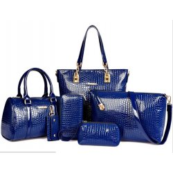 Worsely Navy Blue 6 Piece Crocodile Pattern Ladies Hand bags Set CLB-150BL