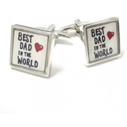 "Look Stylish Fathers Day ""Best Dad Ever"" Design Cufflinks CFL-48"