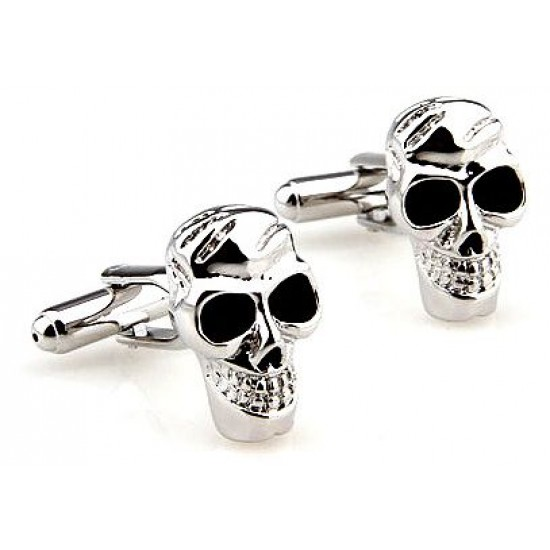 Look Stylish Skull Designed Silver Cufflinks For Mens CFL-51