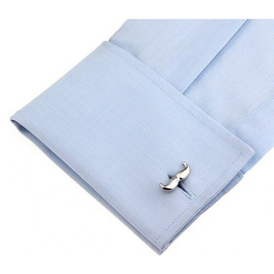 Look Stylish Simple Silver Beard Mens Shirt Cufflinks CFL-54 image