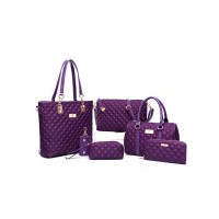 Women Fashion Purple Color Six Piece Mobile Messenger Handbag CLB-143PR