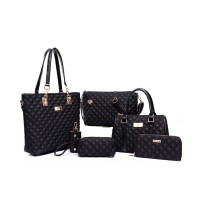 Women Fashion Black Color Six Piece Mobile Messenger Handbag CLB-143BK