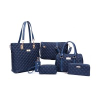 Women Fashion Blue Color Six Piece Mobile Messenger Handbag CLB-143BL