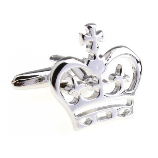 Look Stylish Silver Crown Shape Cufflinks For Mens CFL-57 image